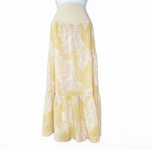 🔴 Leaf Printed Yellow Maxi Skirt by Free People